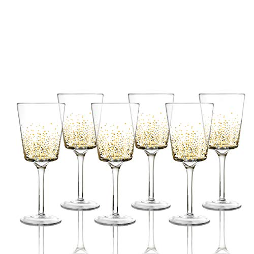 - Fitz and Floyd 229700-6GO Luster Goblets Set of 6 - Elegant Lead-Free Matching Drinkware Perfect for Everyday Use Or Entertaining - Stylish Modern Glasses. an Ideal Gift, 3.2x8