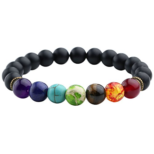 Top Plaza Men,Women 8mm Lava Rock Beads Charka Bracelet Black Healing Energy Stone Gemstone Bracelet (Matte Black Agate)