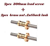 2 x 300mm 3D Printer T8 8mm Lead Screw Rod +2 pcs brass anti backlash Nut TR8 by Alab