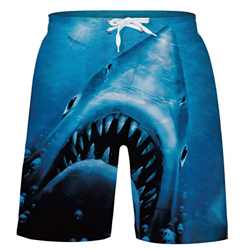 uideazone Boy 3D Prints Shark Swim Board Shorts Swim Trunks with Side Pocket for Summer Beach