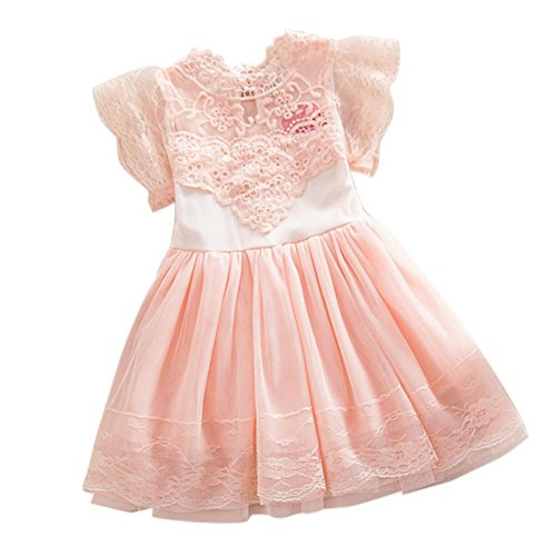 2Bunnies Girls Baby Girls Vintage Lace Eyelet Floral Puff Sleeve Party Princess Pageant Dresses (Pink, 6) -