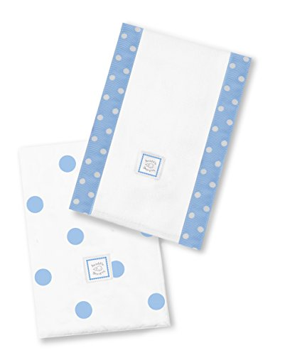 SwaddleDesigns Baby Burpies, Set of 2 Cotton Burp Cloths, Blue Big Dots by SwaddleDesigns