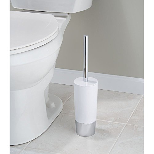 InterDesign Duetto - Toilet Bowl Brush and Holder - White/Chrome - 4 x 17.2 inches