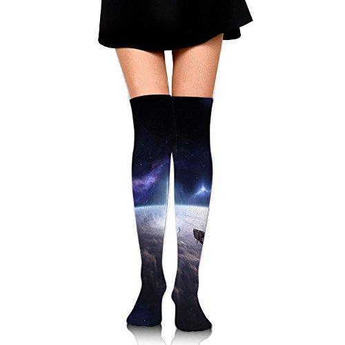 天国恒久的姿を消すスペースシャトル ストッキング サイハイソックス 3D デザイン 女性男性 秋と冬 フリーサイズ 美脚 かわいいデザイン 靴下 足元パイル ハイソックス メンズ レディース ブラック
