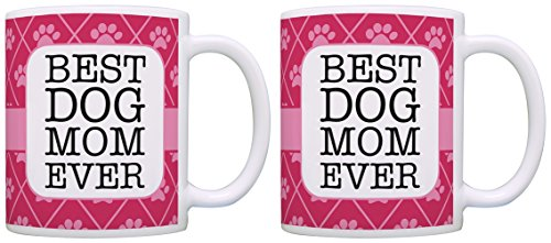 Dog Themed Gifts Best Dog Mom Ever Dog Rescue Dogs Dog Mug 2 Pack Gift Coffee Mugs Tea Cups Pink (Noir Teacup)
