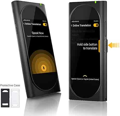 Langogo Genesis Pocket AI Translator with Global Mobile Hotspot, 100+ Languages Instant Two-Way Voice Translator Device and Transcription Recorder, Integrated eSIM, 3.1inch Retina Display, Black