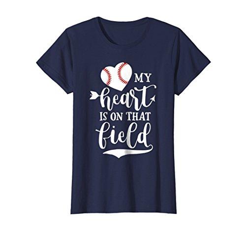 Baseball T-shirt Sayings - Womens My Heart is on That Field Baseball T-Shirt Softball Mom XL Navy