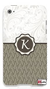 Monogram Initial Letter K Apple ipod 5 Ipod 5g Quality Hard Case Snap On Skin for ipod Gen 5 and 5, 5G (WHITE CASE)