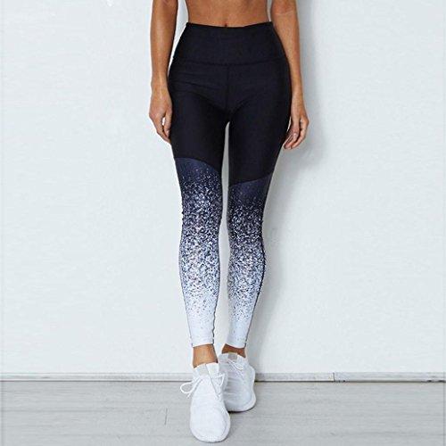 Vanvler Women High Waist Pants, Ladies Gradient Elastic Leggings Yoga Trousers Fitness Workout (M, Blue)