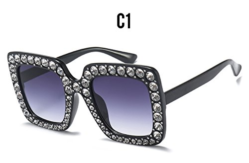 Degradado C Luxury Grandes A Sol Espejo Cristal Mujer de Damas Sol Square Diamond de Marca de Gafas matices Burenqi Gafas gaFxUwx4