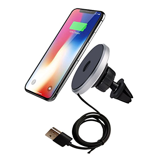 2nd Generation Car Charger - Wireless Charger, Anbear 2-in-1 Qi Wireless Charging Pad & Magnetic Car Mount Air Vent Holder [2nd Generation] for iPhone X, iPhone 8/8 Plus/7/6/6s/Plus, Samsung Note 8/S8/S8 Plus and More