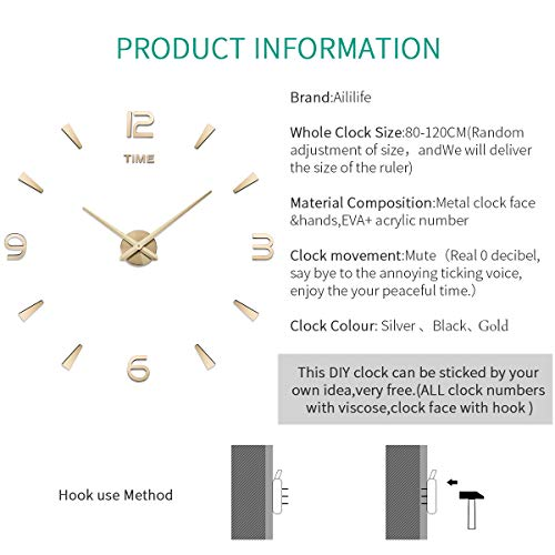 Aililife 3D DIY Wall Clock Decor Sticker Mirror Frameless Large DIY Wall Clock Kit for Home Living Room Bedroom Office Decoration Gold