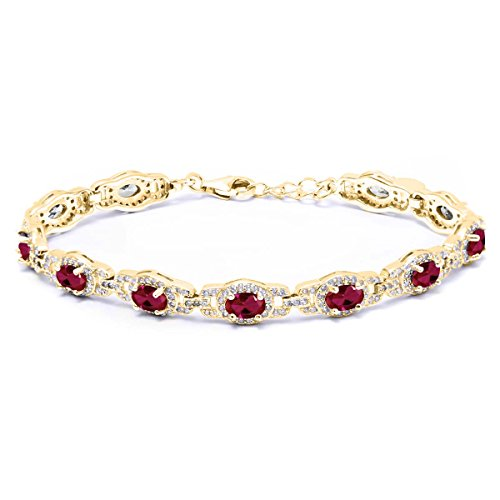 11.08 Ct Oval Red Created Ruby 18K Yellow Gold Plated Silver 7 Inch Bracelet With 1 Inch Extender 7 inch with 1 inch Extender