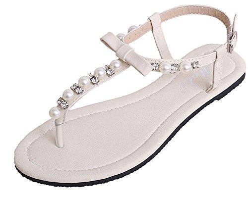 Filles Perles Qitun Clip Sandals Blanc Sandales Femmes Plage Bohême Été Toe Upx1qw