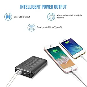 Ambrane 20000mAh Lithium Polymer Power Bank (Stylo-20K, Black)