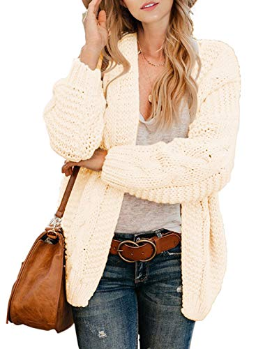 Dokotoo Womens Cardigans Sweaters Open Front Long Sleeve Cable Knitting Chunky Ribbed Winter Sweater Oversized Fashion Loose Short Cardigans Coats Outerwear Cream Small