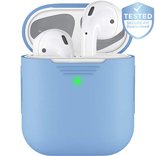 PodSkinz AirPods 2 & 1 Case [Front LED Visible] Protective Silicone Cover and Skin Compatible with Apple AirPods (Without Carabiner, Baby Blue)