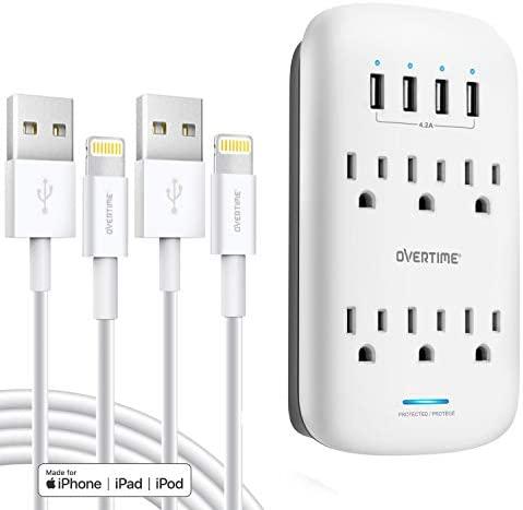 USB Wall Charger with Apple MFi Certified 4ft Lightning Cable 2 Pack , Surge Protector Socket Shelf 6 Outlet with 4 USB Ports Charging Station for iPhone, iPad, Home, School, Office, ETL Certified