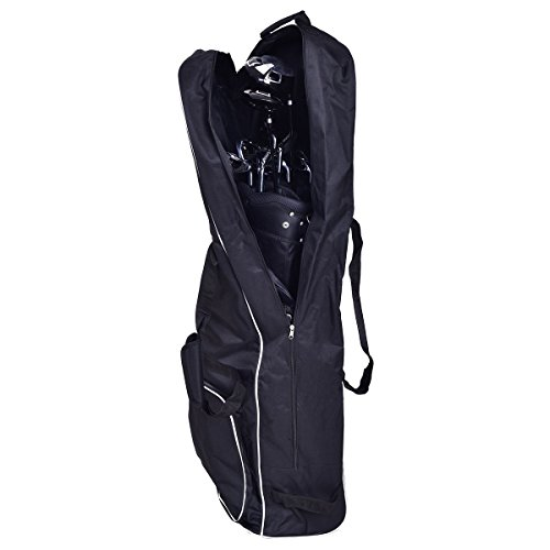 Apontus Black Foldable Golf Bag Travel Cover with Wheel by Apontus