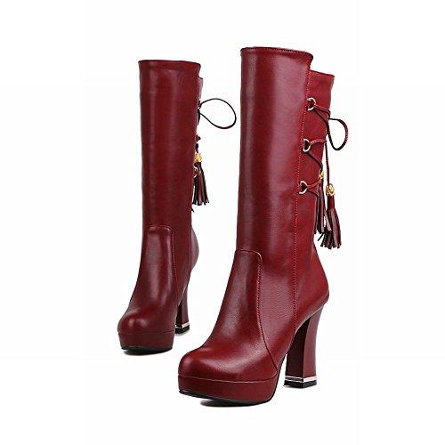 Carolbar Womens Lace Up Retro Vintage Platform High Heel Mid-Calf Boots Wine Red gU2ySTwt