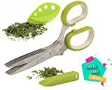 KytChef Herb Scissors & Herb Stripper Kitchen Set by multifunctional cutting shears with 5 stainless steel blades + stripping tool + cleaning comb - Cutter/Chopper/Mincer for Herbs - Kitchen Gadget