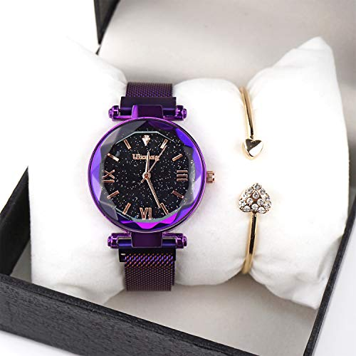 Wrist Watch Mens Gift - Valentine's Day Gifts-Ladies Fashion Wrist Watch Casual Crystal Quartz Star Dial Watch with Purple Magnetic mesh Belt and Bracelet Set