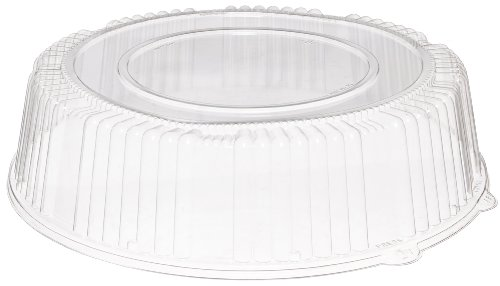 CaterLine Plastic Round Catering Tray Dome Lid, 16-Inch, Clear (25-Count)