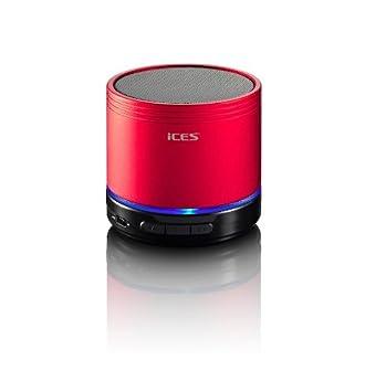 iCES IBT-1 - Altavoz portátil de 3W (Bluetooth, USB, ranura para tarjetas SD), rojo