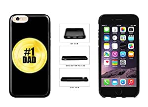Father's Day Gift - #1 Dad Gold Token TPU RUBBER SILICONE Phone Case Back Cover for Apple iPhone 6 Plus (5.5 inches screen screen) comes with Security Tag and MyPhone Designs(TM) Cleaning Cloth