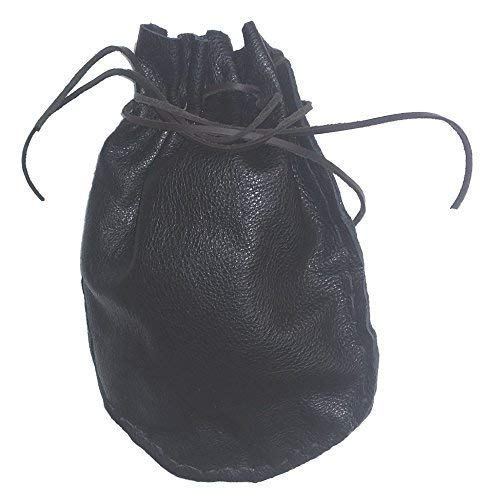 Pouch Drawstring Heavy Pebbled Leather 5.5 X 5.5 Inches, Black by Handmade by Stanley