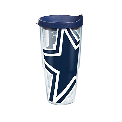 Tervis 1085169 NFL Dallas Cowboys Colossal Tumbler with Wrap and Navy Lid 24oz, Clear (Mug Nfl Cowboys Dallas)