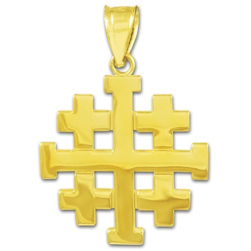Jerusalem Gold Cross Pendant Jewelry - 14k Gold Templar Crusaders Jerusalem Cross Pendant