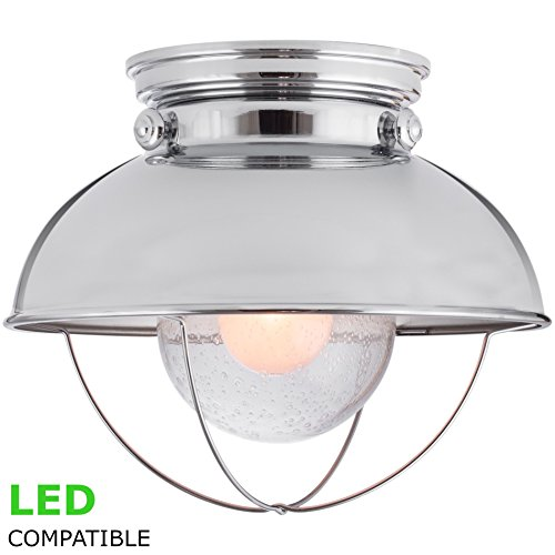 Kira Home Bayside 11'' Industrial Farmhouse Flush Mount Ceiling Light + Bubble Glass Shade, Chrome Finish by Kira Home