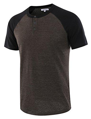 Vetemin Men's Casual Short Sleeve Raglan Henley T-Shirts Baseball Shirts Tee H.Charcoal/Black XXL