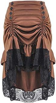 Dainzuy Womens Gothic Steampunk Skirt Vintage Ruffle Skirt Asymmetrical Layered Lace Bandage Party Dress