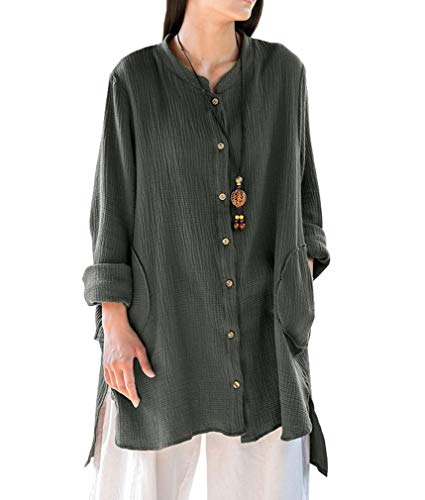Soojun Women's Loose Fit Button Down Linen Cotton Cardigan Shirts Coat, Dark Olive Green, Medium