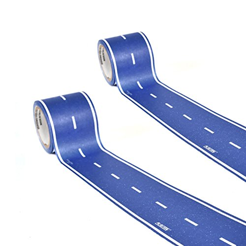"PlayTape Blue 2"" x 15' 2 Pack - Road Car Tape Great for Kids, Sticker Roll for Cars and Train Sets, Stick to Floors and Walls, Quick Cleanup, Children Toys Birthday Gift"