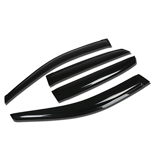 DNA MOTORING WVS-174 Dark Smoke Vent Window Visor Deflector Rain/Sun Guard, Pack of 4