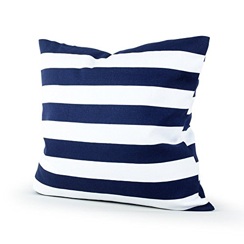 Leaveland Retro Navy Blue Stripe 18x18 Inch Cotton Linen Square Throw Pillow Case Decorative Durable Cushion Slipcover Home Decor Sofa Standard Size Accent Pillowcase Encasement (Outdoor Stripe Navy Pillow)