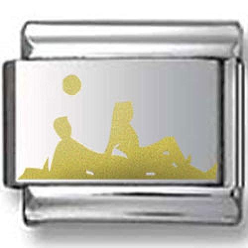 Sunbathers Silhouette Gold Laser Italian Charm