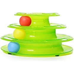 Tinksky Cat Toy Three Layers Pet Toys Intelligence Crazy Play Ball Tray Cat Toy (Green)