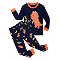 Garsumiss Toddler Pajama Set Little Boys Excavator Pjs Dinosaur Kids Sleepwear