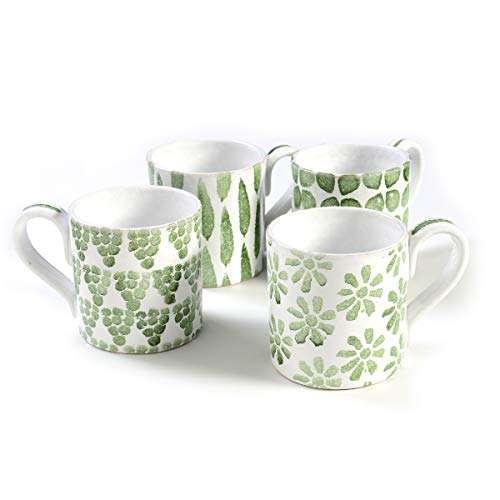 Tuscan Dinnerware Set - 4 Olive Green Coffee Mugs from the Toscana Collection - Rustic Tuscan Kitchen Décor, Country Rustic Dinnerware Hand Painted & Handmade in Italy, Tuscan Mug Set of 4 ()