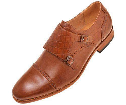 Amali Mens Tan Crocodile Embossed Smooth Double Monk Strap Cap Toe Dress Shoe : Style Brad-028 Tan 9 D(M) US Monk Leather