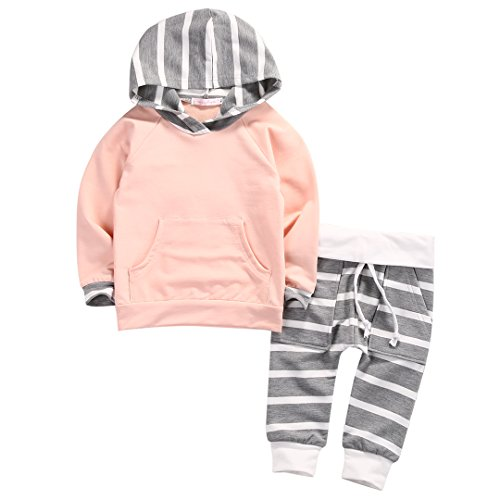 Newborn Baby Boy Girl Warm Hoodie T-shirt Top + Pants Outfits Set Kids Clothes (18-24M, Pink Top+Gray Stripe Pants)