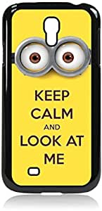 linJUN FENGKeep calm and look at me -Hard Black Plastic Snap - On Case with Soft Black Rubber Lining-Galaxy s4 i9500 - Great Quality!