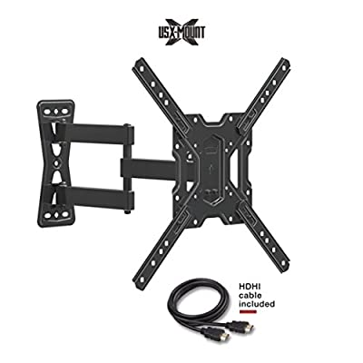 "USX MOUNT XMM006 Full Motion Swivel Articulating TV Mount Bracket for 26-55"" LED, OLED, 4K TVs-Fit for 32, 40, 50 TV with VESA 75x75mm, 100x100mm, 200x200mm, 400x400mm-Weight Capacity Up to 60lbs"