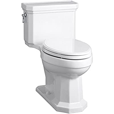KOHLER K-3940-0 Kathryn Comfort Height Elongated One-Piece 1.28 GPF Toilet with Aqua Piston Flush Technology, Concealed Trapway and Left-Hand Trip Lever, White