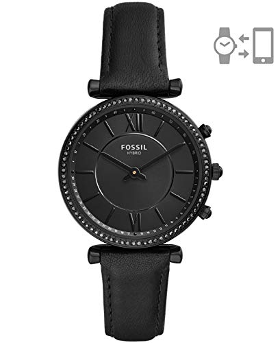 Fossil Women's Hybrid Smartwatch Stainless Steel Watch with Leather Strap, Black, 16 (Model: FTW5038)