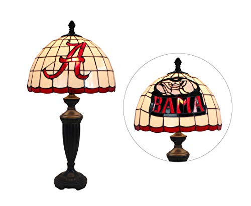 (Yogoart Tiffany Style Table Lamp 12-inch Wide NCAA Alabama Crimson Tide Alphabet A Stained Glass Table Lamp 24.8 Inch Height)